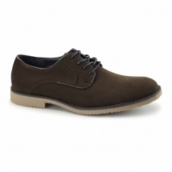 NASHVILLE Mens Faux Suede Lace Up Desert Shoes Dark Brown