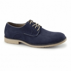 NASHVILLE Mens Faux Suede Lace Up Desert Shoes Navy