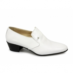 NASSER Mens Soft Leather Plain Cuban Heel Shoes White