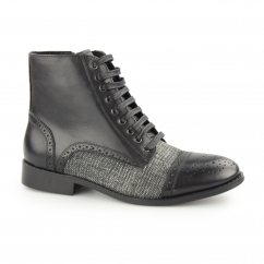 NATASHA Ladies Leather/Canvas Derby Brogue Boots Black