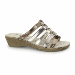 CLARICE Ladies Wedge Mule Sandals Metallic Multi