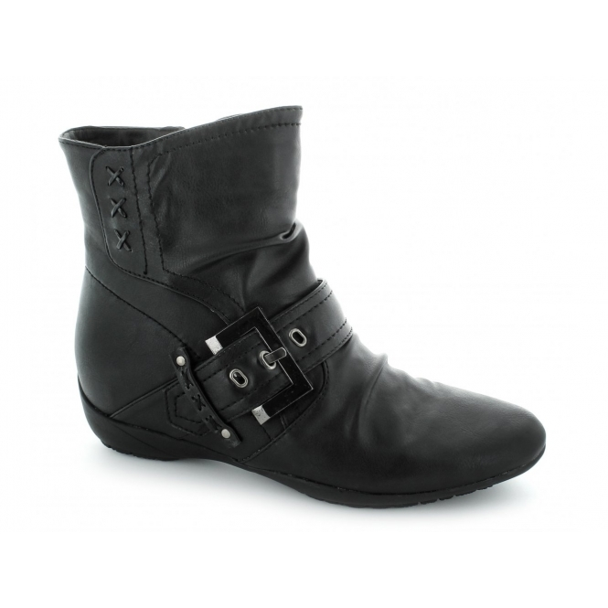 Natrelle ELAINE Ladies Faux Leather Zip Buckle Boots Black