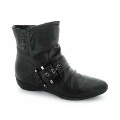 ELAINE Ladies Faux Leather Zip Buckle Boots Black