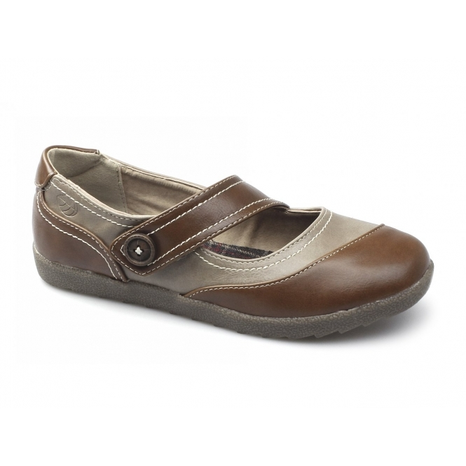 Natrelle MAPLE Ladies Faux Leather Velcro Mary Jane Shoes Tan/Stone