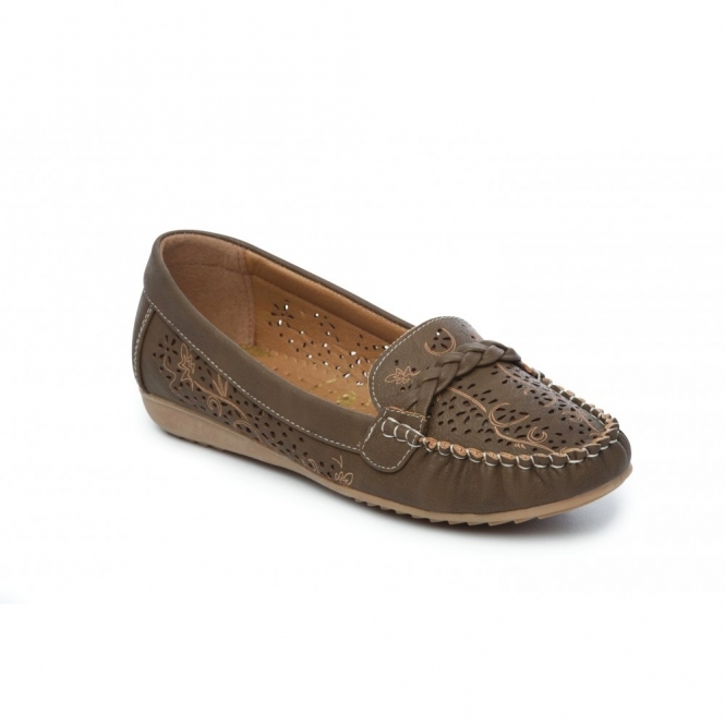 STEFANIE Ladies Faux Leather Slip-On Shoes Brown