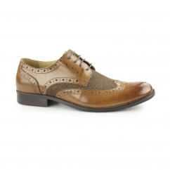 NAUGHTON Mens Leather/Canvas Wingtip Derby Brogues Tan