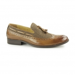 NAUVARRO Mens Leather/Canvas Tassel Brogue Loafers Tan