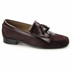 NAVARRO Mens Pony Hair Leather Fringe Loafers Bordeaux