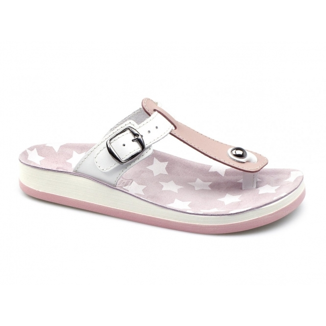 Fantasy Sandals NAXOS Ladies Toe Post Slip On Sandals Pink/White