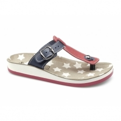 NAXOS Ladies Toe Post Slip On Sandals Red/Blue
