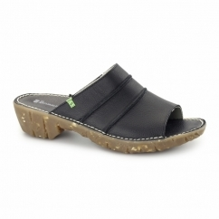 NC91 Ladies Leather Clog Sandals Black