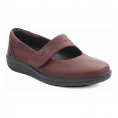 NEPTUNE Ladies Leather Wide E Fit Velcro Shoes Wine