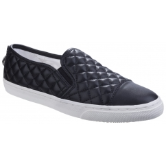 NEW CLUB Ladies Quilted Loafers Black