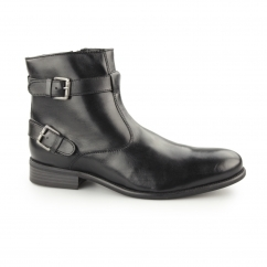 NEWCOTT Mens Leather Buckle Moto Boots Black
