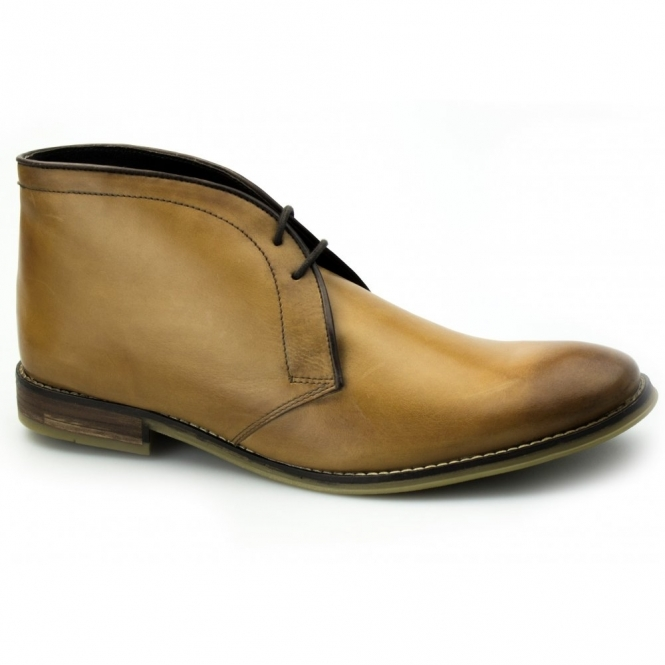 Ikon NEWTON Mens Leather Chukka Boots Tan