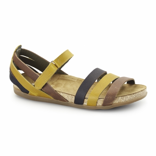 El Naturalista NF42 Ladies Leather Velcro Sandals Corn/Mixed