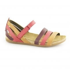 NF42 Ladies Leather Velcro Sandals Grosella/Mixed