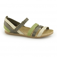 NF42 Ladies Leather Velcro Sandals Khaki/Mixed