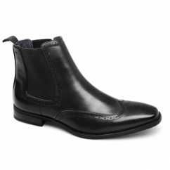 NICHOLAS Mens Faux Leather Brogue Chelsea Boots Black