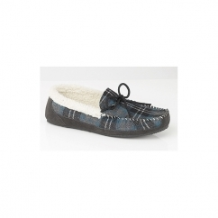 NICHOLAS Mens Textile Check Warm Lined Moccasin Slippers Blue