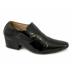 NICO Mens Patent Leather Slip On Cuban Heel Shoes Black