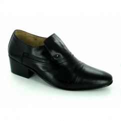 NICO Mens Soft Leather Plain Cuban Heel Shoes Black