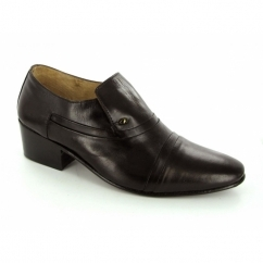 NICO Mens Soft Leather Plain Cuban Heel Shoes Brown