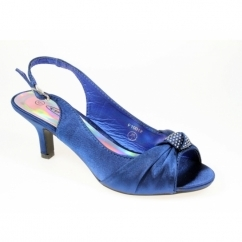 NIKKI Womens Low Heel Satin Bridesmaid Shoes Cobalt Blue