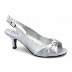 NIKKI Womens Low Heel Satin Bridesmaid Shoes Silver