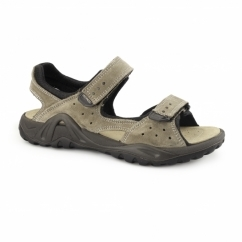 NOAH Mens Leather Velcro Sports Sandals Taupe