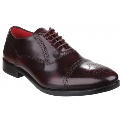 NOEL Mens Hi-Shine Leather Oxford Brogue Shoes Bordo