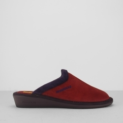 234 (AFELPADO) Ladies Mule Slippers Ruby