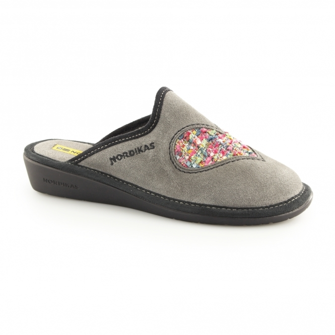 Nordikas 8130 (AFELPADO) Ladies Mule Slippers Heart Grey