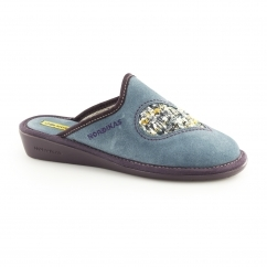 8130 (AFELPADO) Ladies Mule Slippers Heart Petrol