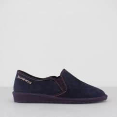 8151 (AFELPADO) Ladies Suede Full Slipper Marine Blue