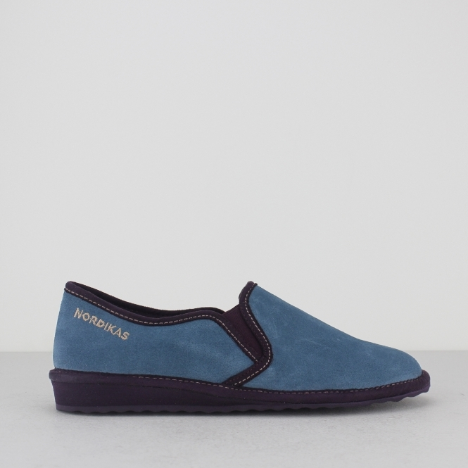 8151 (AFELPADO) Ladies Suede Full Slipper Petrol