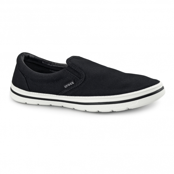 Crocs NORLIN SLIP ON Mens Canvas Trainers Black/White