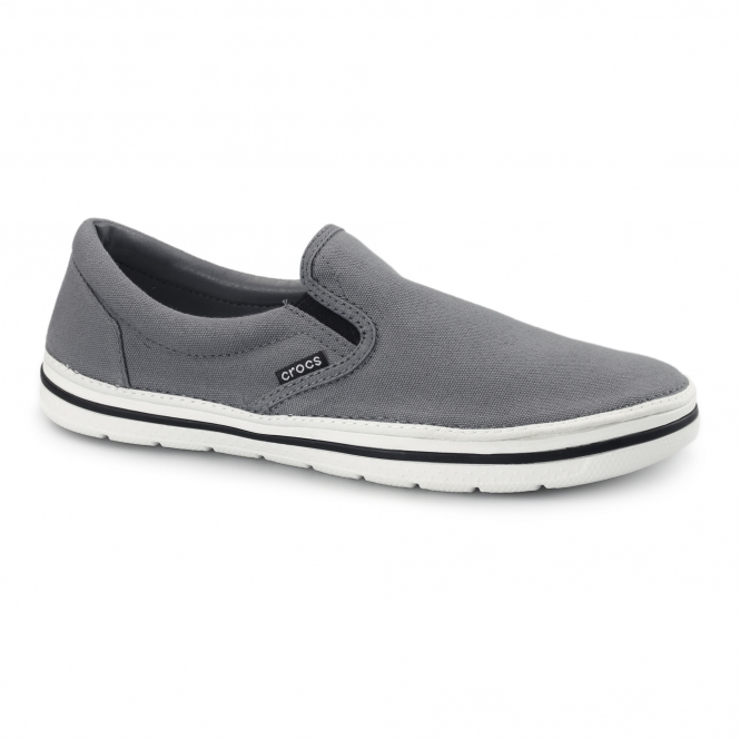 Crocs NORLIN SLIP ON Mens Canvas Trainers Charcoal/White