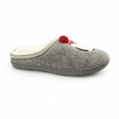 NORTH POLE Ladies Penguin Novelty Mule Slippers Grey