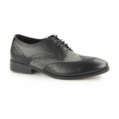 NOTILLA Ladies Leather/Canvas Wingtip Brogue Shoes Black/Grey