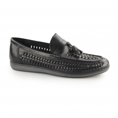 NOTLEY Mens Leather Woven Tassel Loafers Black