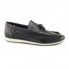 NOTLEY Mens Leather Woven Tassel Loafers Blue