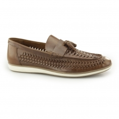 NOTLEY Mens Leather Woven Tassel Loafers Tan