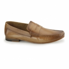 NUMANA Mens Leather Penny Loafers Tan