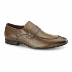OBAN Mens Leather Smart Loafer Style Shoes Tan
