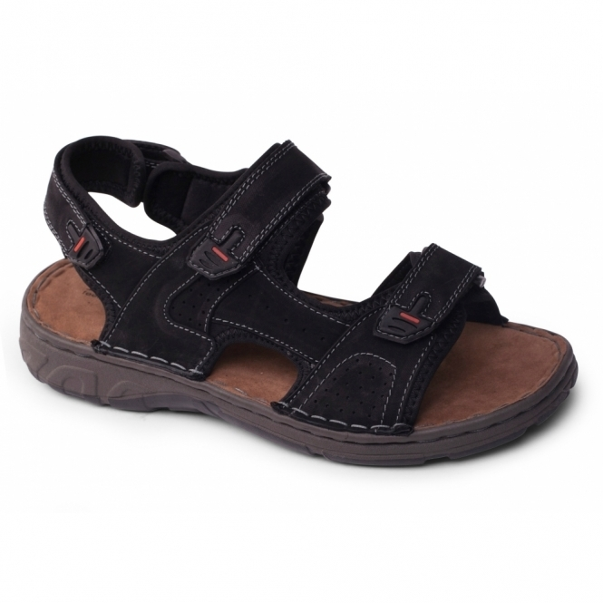 Padders OCEAN Mens Leather Velcro Sports Sandals Black