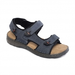 OCEAN Mens Leather Velcro Sports Sandals Navy