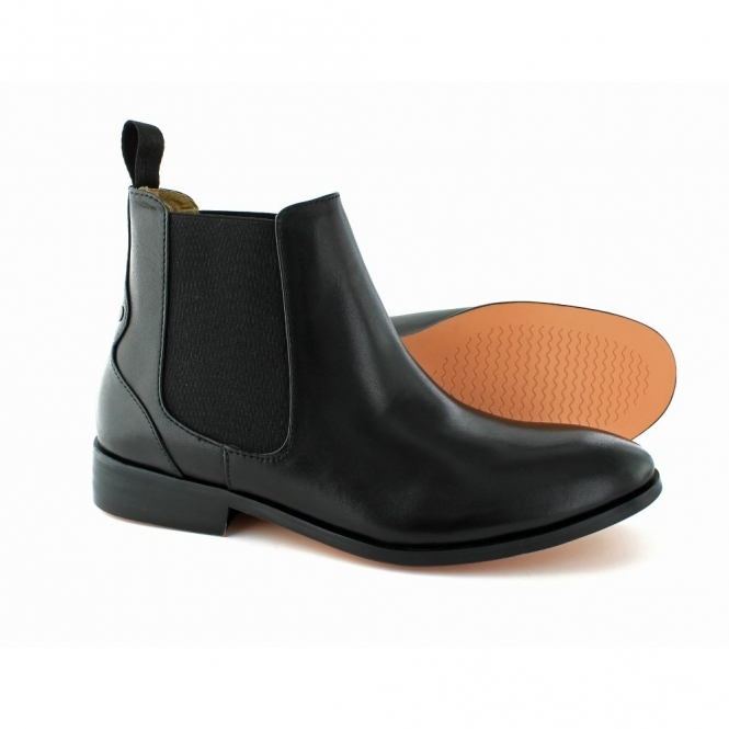 Laceys London ODELE Ladies Leather Chelsea Boots Black