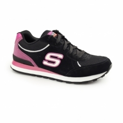 OG 82 - FLYNN Ladies Retro Sports Trainers Black/Hot Pink