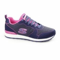 OG 85-QUICK STITCH Ladies Retro Sports Trainers Navy/Pink